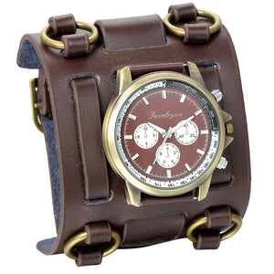 Wide Strap Leather Tachymetre Quartz Watch Coffee / China - Go Steampunk
