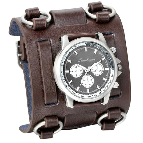 Men's Wide Leather Strap Watch Bracelet Bronze / China - Go Steampunk