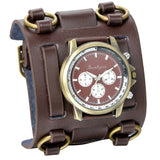 Men's Wide Leather Strap Watch Bracelet Coffee / China - Go Steampunk
