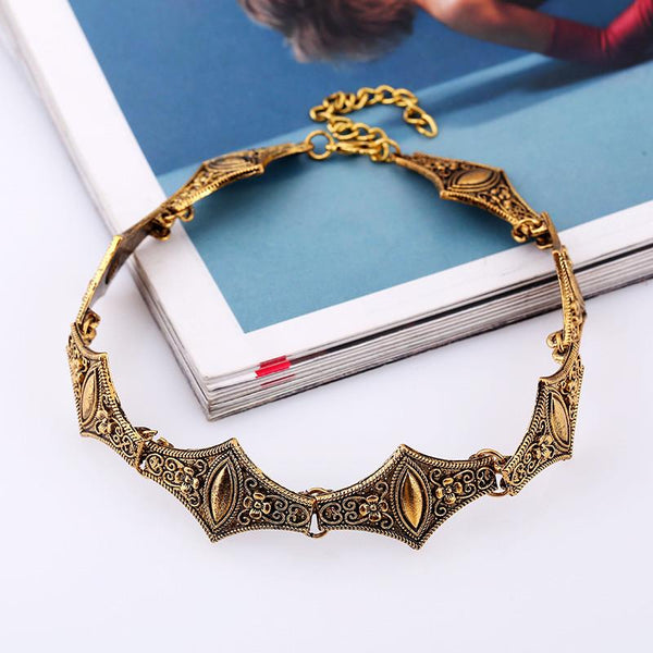 Elegant Metal Links Choker Necklace Ancient Gold - Go Steampunk