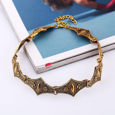 Elegant Metal Links Choker Necklace