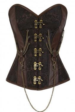 Overbust Hourglass Chained Steampunk Corset