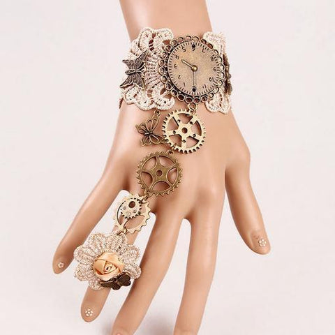Lace Gear Butterfly Steampunk Cuff With Chained Ring - Go Steampunk