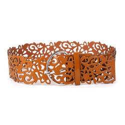 Hollow Fillagree PU Leather Belt