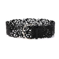 Hollow Fillagree PU Leather Belt Black - Go Steampunk