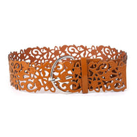 Hollow Fillagree PU Leather Belt Brown - Go Steampunk