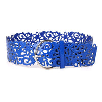 Hollow Fillagree PU Leather Belt Blue - Go Steampunk
