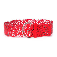 Hollow Fillagree PU Leather Belt Red - Go Steampunk