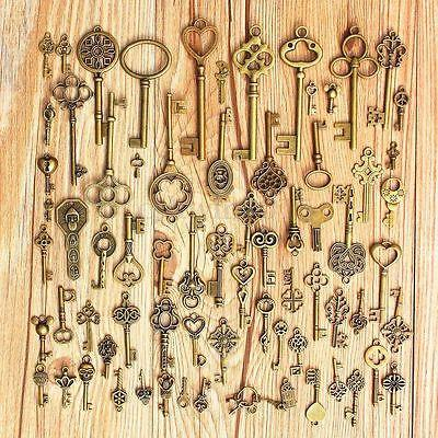 Antique Bronze Skeleton Key Decor Set of 70 Keys