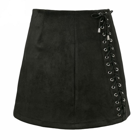 Lace Up Suede Leather Skirt