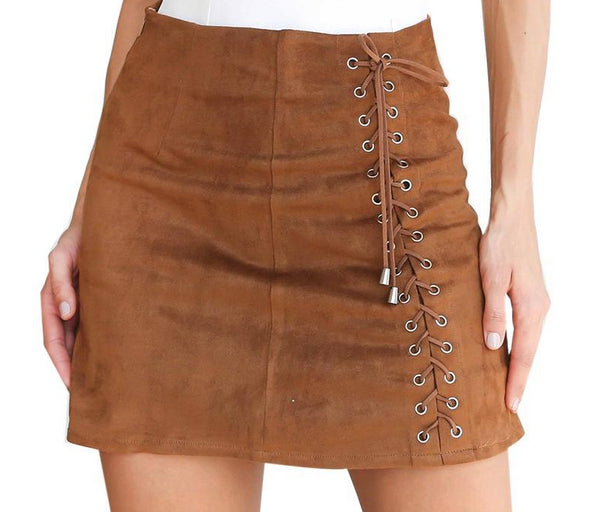 Lace Up Suede Leather Skirt - Go Steampunk