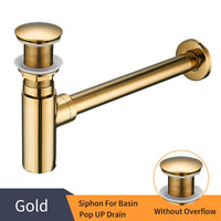 Luxury Rubbed Bronze P Trap With Pop Up Drain Gold C - Go Steampunk