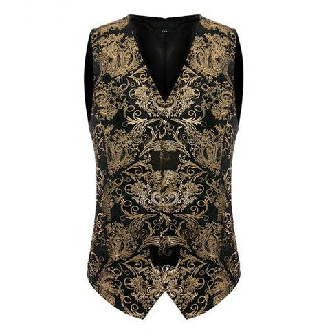 Luxury Gold Printed Steampunk Vest Gold / S - Go Steampunk