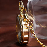Luxury Golden Mechanical Hand-wind Skeleton Pocket Watch - Go Steampunk