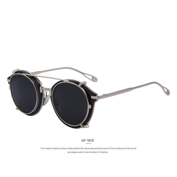 Black Framed Round Sunglasses C01 Black - Go Steampunk