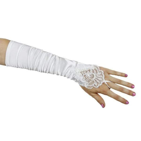 Lace Embroidered Satin Fingerless Gloves