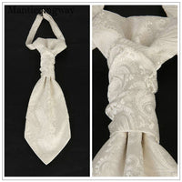Classic Polyester Double Neck Tie beige white - Go Steampunk