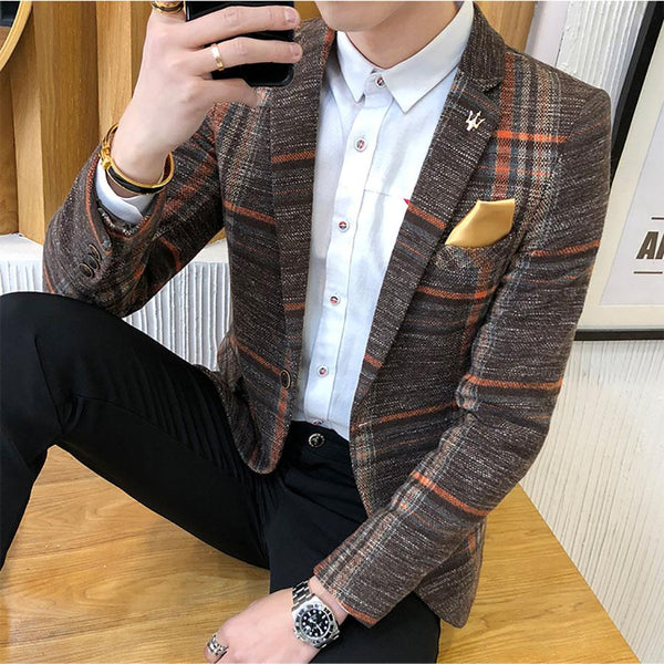Casual Tweed Men's Plaid Blazer