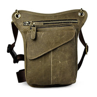 Crazy Horse Genuine Leather Drop Leg Bag Light Green / China - Go Steampunk