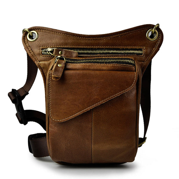 Crazy Horse Genuine Leather Drop Leg Bag Light Brown / China - Go Steampunk