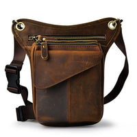 Crazy Horse Genuine Leather Drop Leg Bag Deep Brown / China - Go Steampunk