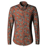 Men's Floral Print Long Sleeve shirt Orange / S - Go Steampunk