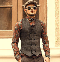 Mens Brown Double Breasted Vest