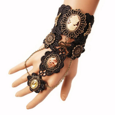 Black Lace Cameo Steampunk Finger Connect Bracelet