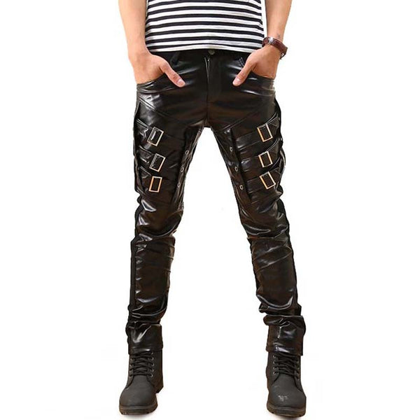 Six Buckle Faux Leather Pants 28 - Go Steampunk
