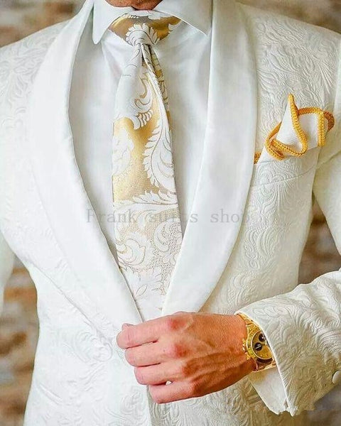 Ivory Jacquard Suits (Jacket+Pants)