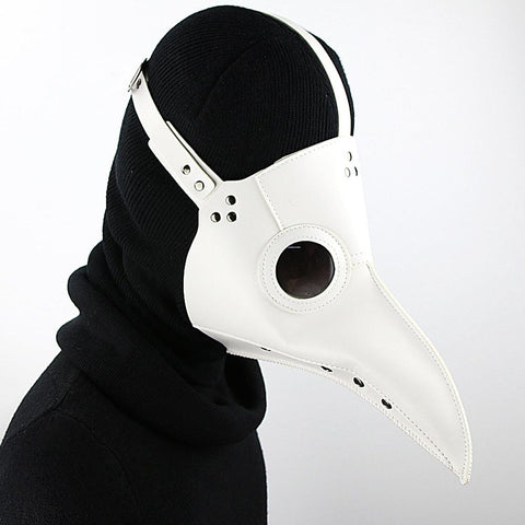 White Vegan Leather Plague Doctor Mask - Go Steampunk