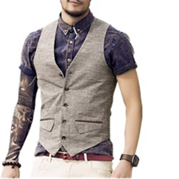 Slim Single Row Button Casual Linen Waistcoat