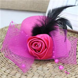 Feather and Flower Fascinator hot pink - Go Steampunk
