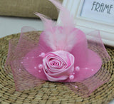 Feather and Flower Fascinator pink - Go Steampunk
