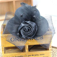 Feather and Flower Fascinator gray - Go Steampunk