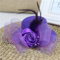 Feather and Flower Fascinator purple - Go Steampunk