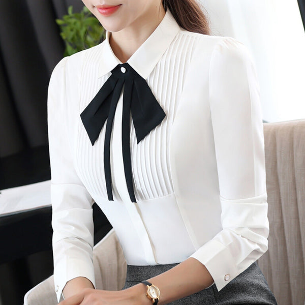 New elegant long-sleeve slim bow tie chiffon shirt