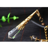 New natural white crystal pendulums with filigree Light Yellow Gold Color - Go Steampunk