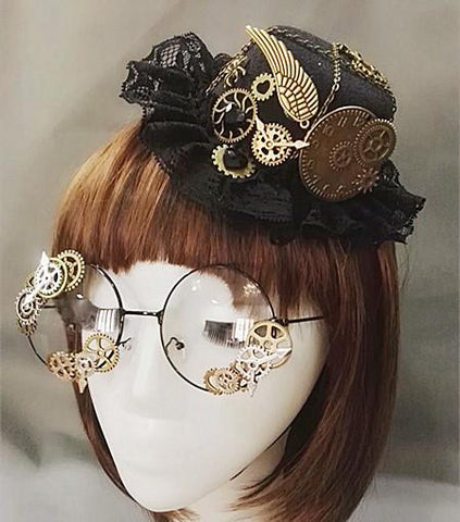 Steampunk Victorian Gears Mini Top Hat With Steam Punk Gear Glasses hat and glasses - Go Steampunk