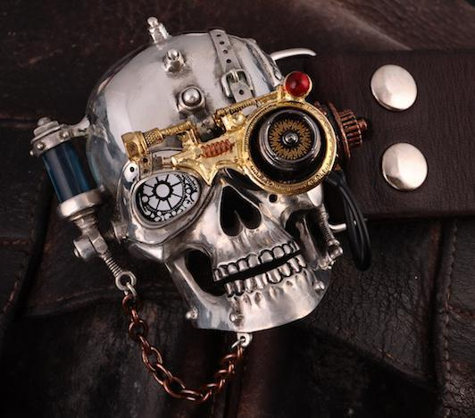 Steam Punk Skull Buckle Tin without gift box - Go Steampunk