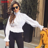 Long Sleeve Elastic Turtleneck Tunic Shirt