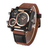 Luxury Multiple Time Zone Square Watch Brown - Go Steampunk
