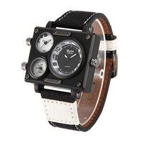 Luxury Multiple Time Zone Square Watch Main dial black small dials white - Go Steampunk