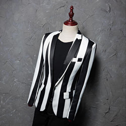 Black White Stripe Jacket - Go Steampunk