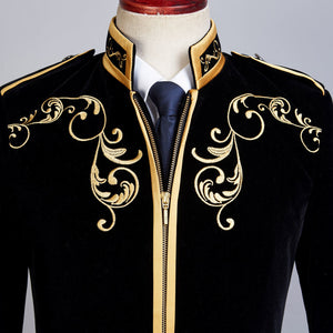 Velvet And Gold Embroidery Blazer - Go Steampunk