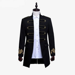 Double-breasted British Style Long Slim Fit Suit Jacket - Go Steampunk