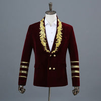 Suede Embroidered Double-breasted Jacket wine red jacket / M - Go Steampunk