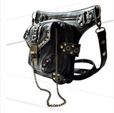 Black Leather Steampunk Thigh Holster Crossbody Bag