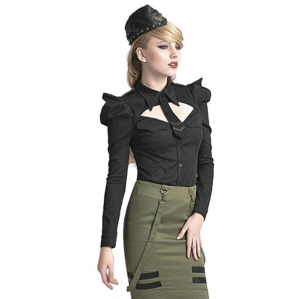 Military Style Long Sleeve Top Black / S - Go Steampunk