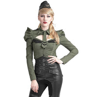 Military Style Long Sleeve Top Army Green / S - Go Steampunk